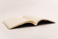 Cuaderno negro piel trenzada, fondo blanco 2